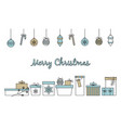 merry christmas border with hand drawn various vector image vector image