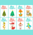 merry christmas posters set on vector image vector image
