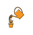 orange watering can sprays water drops above vector image vector image