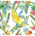 parrots and exotic flowers macaw seamless pattern vector image vector image