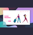 people with luggage book cheap flight landing page vector image vector image