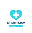 pharmacy drugstore logo with heart vector image vector image