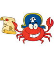 Pirate crab holding a treasure map vector | Price: 1 Credit (USD $1)