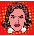 Retro Emoji rage anger boiling woman face vector image vector image