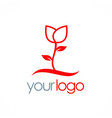 rose plant flower logo vector image vector image