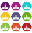 russian kremlin icon set color hexahedron vector image vector image