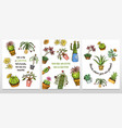 set cards cactus and cute template succulents vector image vector image