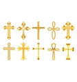 set isolated christian cross or religion sign vector image