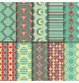 set seamless colorful retro patterns geometric vector image