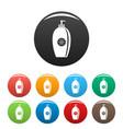 sun lotion dispenser icons set color vector image