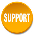 support orange round flat isolated push button vector image vector image