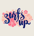 surf lettering print vector image vector image