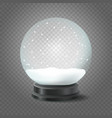 transparent crystal ball with snow isolated on vector image