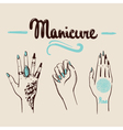 woman hands with manicure and tattoos vector image vector image