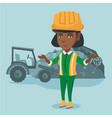worker of rubbish dump standing with spread arms vector image vector image