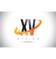 xv x v letter logo with fire flames design and vector image vector image