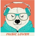 Polar Bear with glasses and headphones vector image