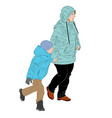 a mother is walking by the hand with the child vector image vector image