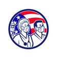 american healthcare worker heroes usa flag icon vector image