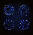 beautiful blue fireworks set bright fireworks vector image