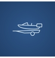 Boat on trailer for transportation line icon vector image vector image