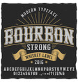 bourbon whiskey typeface poster vector image vector image