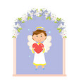 boy angel in wedding flower arch valentines day vector image vector image