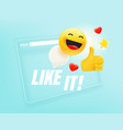 browser window with with different emoji i like vector image vector image