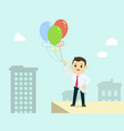 businessman holding colorful balloon with job vector image vector image
