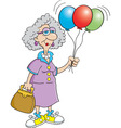 Cartoon Senior Citizen Lady Holding Balloons vector image vector image