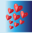 celebratory bright background with red hearts vector image