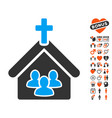 church icon with dating bonus vector image vector image