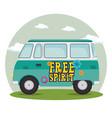 colorful hippie bus cartoon vector image vector image