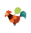 colorful rooster with green balloon farm cock vector image vector image