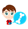 cute sad little boy kid child with broken arm bone vector image vector image