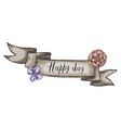 decorative card with kraft ribbon and wildflowers vector image vector image