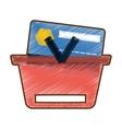 drawing red basket shop online bank credit card vector image