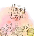 easter greeting card with eggs and rabbits vector image vector image