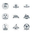 eco danger logo set simple style vector image vector image