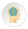 exclamation mark inside human head icon circle vector image vector image