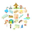facility icons set cartoon style vector image vector image