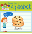 Flashcard alphabet B is for biscuits vector image vector image