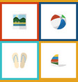flat icon beach set of beach sandals reminders vector image
