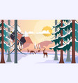 flat style beautiful winter landscape vector image