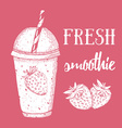 Fresh strawberry smoothie vector image