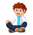 funny boy sitting vector image vector image