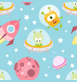 funny space monsters seamless pattern vector image vector image