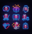 gifts icon set neon design template design vector image vector image