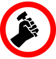 hand holding a hammer icon worker icon for poster vector image vector image