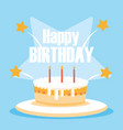 happy birthday card with sweet cake and candles vector image vector image